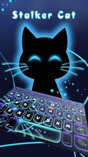 Neon Stalker Cat Keyboard Theme - náhled