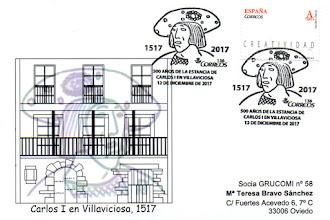 Photo: Tarjeta con el matasellos del 500 aniversario de la estancia de Carlos I en Villaviciosa