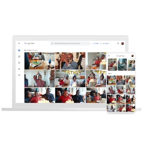 Ein Laptop und ein Smartphone, auf denen Google Fotos zu sehen ist