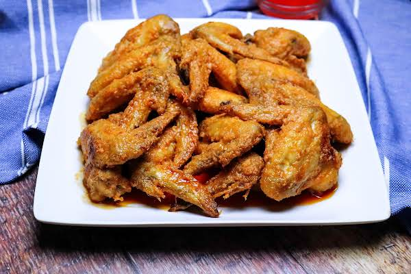 A Platter Of Oven Baked Buffalo Chicken Wings.