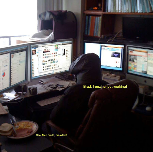 Photo: Freezing, but working (and eating breakfast)