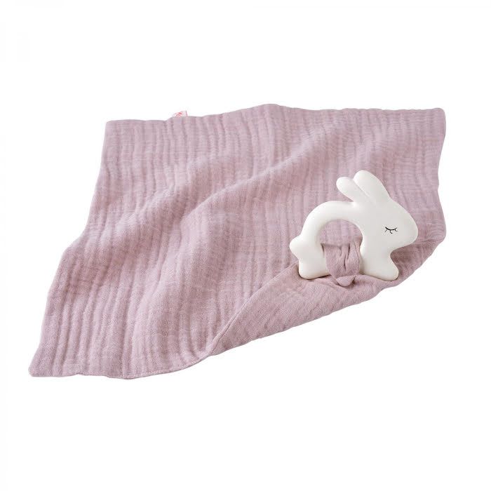 Rubber Rabbit with Towel Pale Rose