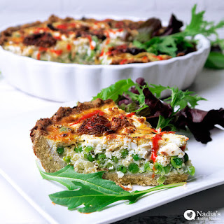 Peas, Caramelised Onions and Feta Quiche