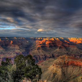 Canyon Glow by Dave Files - Landscapes Travel ( mountains, sunset, canyon, evening, digital )
