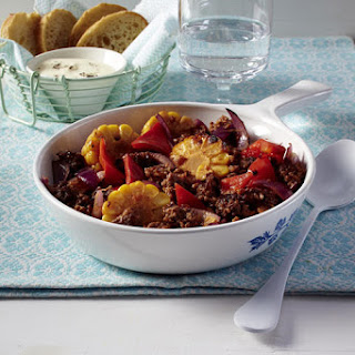 Ground Beef with Peppers and Corn