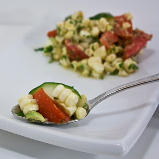 Fresh Corn Salad with Tomatoes and Cucumber