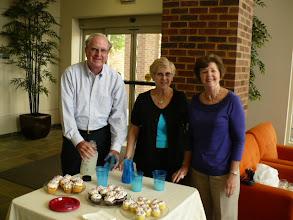 Photo: Tom and Paula Fahnestock and Phyllis May at refreshments table