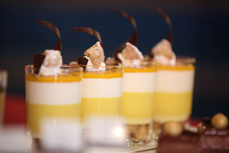Desserts lined up as part of the unveiling of Chocolate Journeys on Ruby Princess.