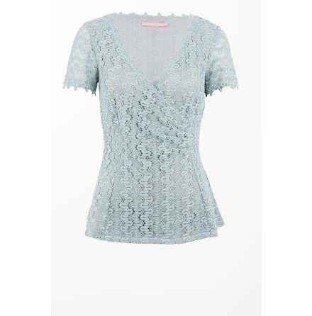 Crochet Lace Top Dusty Blue - Pernilla Wahlgren