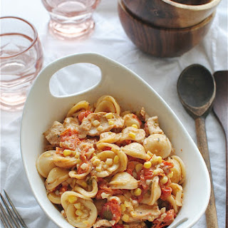 Creamy Tomato Orecchiette with Chicken and Corn.