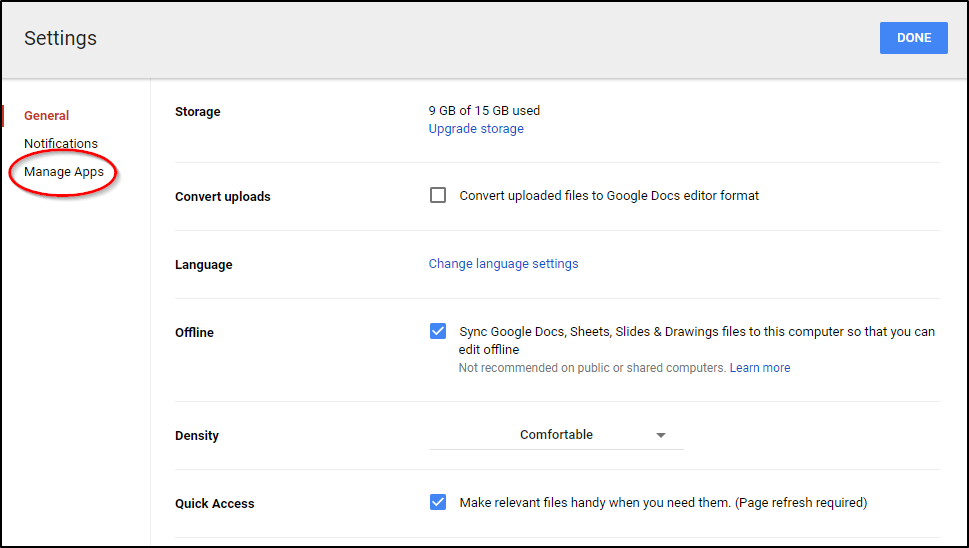 Google Drive Manage Apps