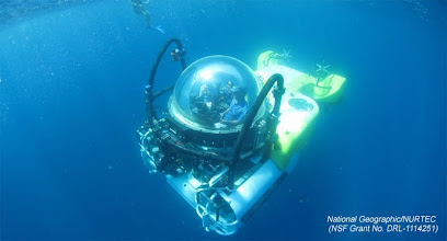 Photo: DeepSee submersible descends to seamounts on Cocos Island Expedition (Photo credit: P. Auster/NSF Grant N. DRL-1114251)