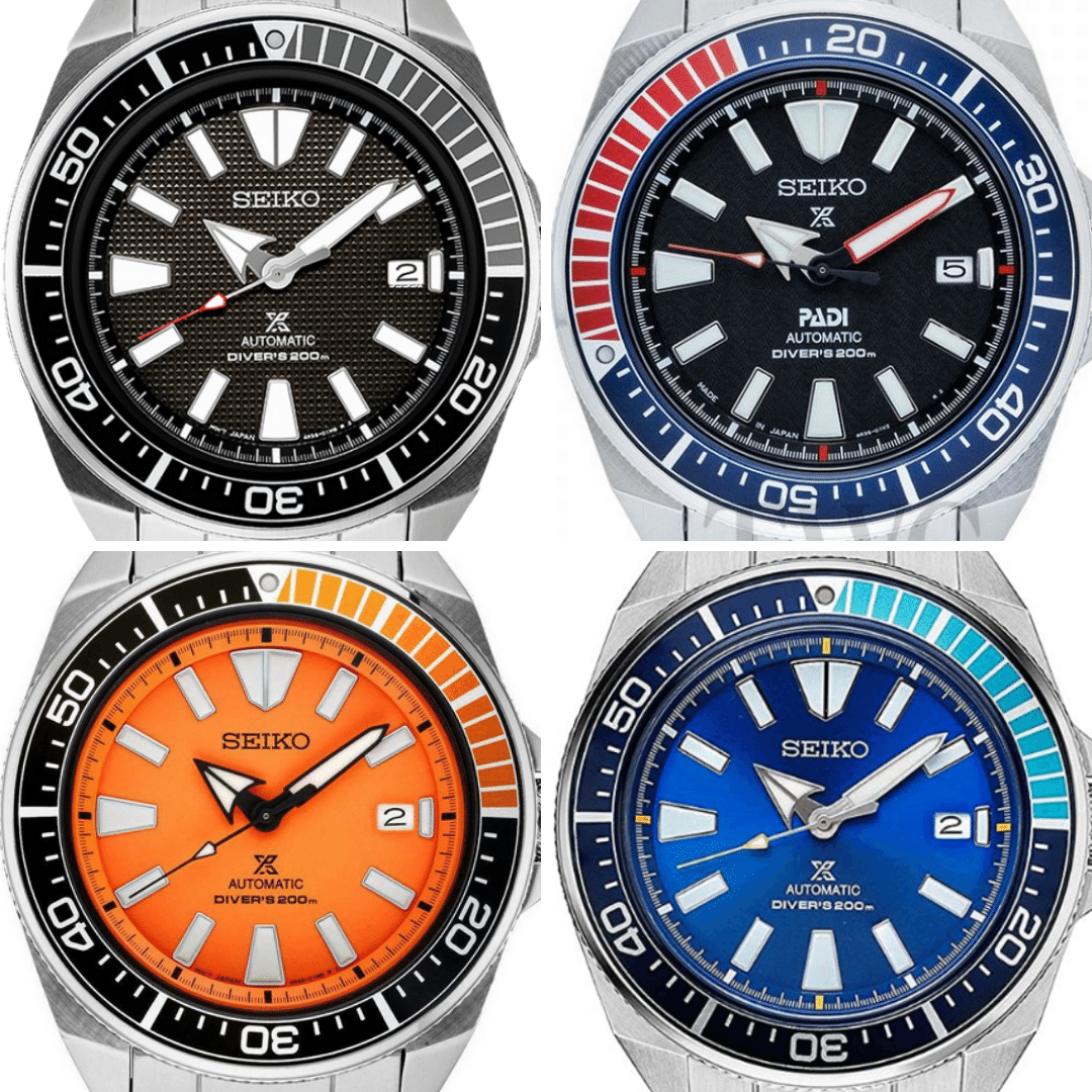 x4 dials from the Seiko Samurai dive watch collection