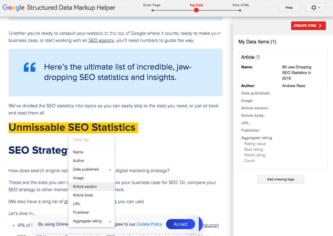 Google Structured Data Markup Helper - OMG Schema Markup example