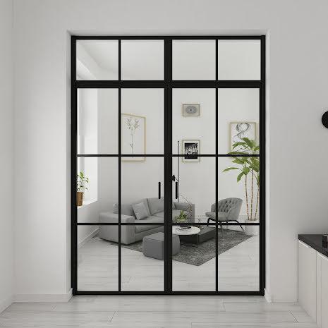 Industrivägg Dörr + dörr ovanliggare svart