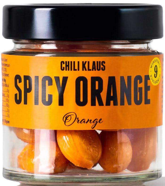 Spicy drops Orange – apelsinkaramell med vindstyrka 9 – Chili Klaus