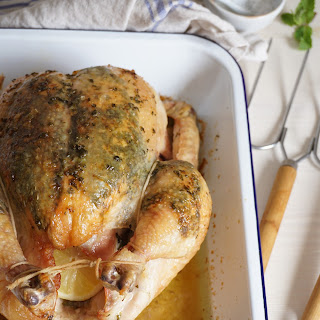 Lemon And Mint Roasted Chicken.