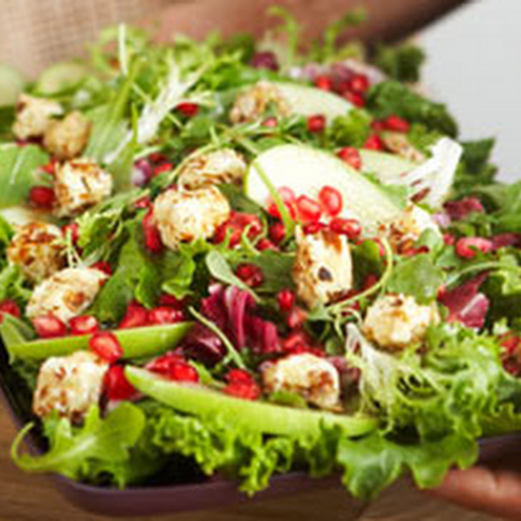 Mixed Green Salad with Warm Cream Cheese Croutons Recipe