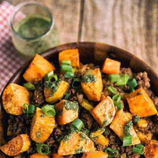 Sweet Potato And Ground Beef Bowl.