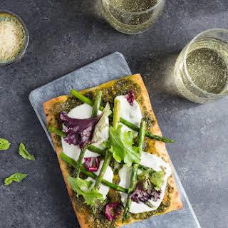 Pistachio Pesto & Asparagus Flatbread Pizza.