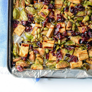Sheet Pan Garlic Tofu & Brussels Sprout Dinner.