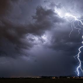 Huge positive lightning by Matic Cankar - Landscapes Weather ( thunder, lightning, thunderstorm, village, electric, night, storm, rain )