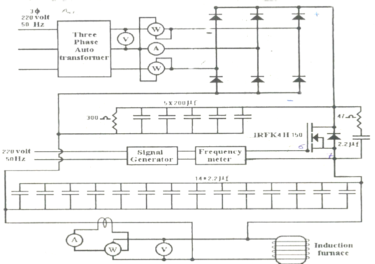 The circuit diagram of the power supply