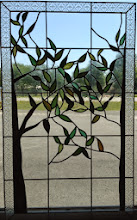 Photo: Stained glass insert doorlite. For a front door. Custom glass, beautiful glass, leaded glass, trees, leaves, privacy.