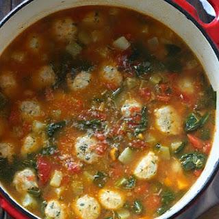 Mini Turkey Meatball Vegetable Soup.