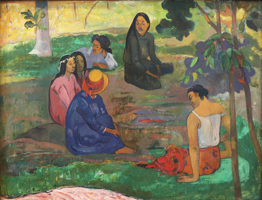 "paul-gaughin-les-parau-parau.jpg -  Paul Gaughin, ""Les Parau Parau (Conversation),"" 1891, oil on canvas."
