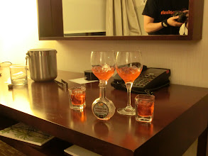 Photo: 50ml of Red Curacao on the rocks shared four ways...