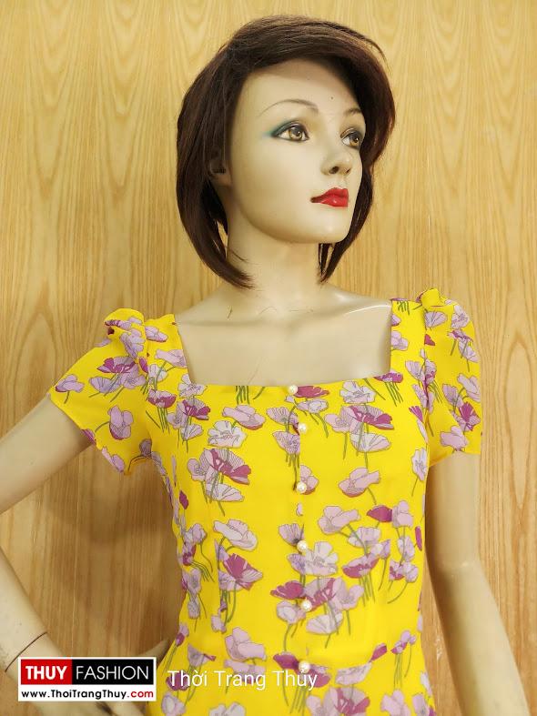 Váy xòe dáng dài qua gối họa tiết hoa V682 thời trang thủy sài gòn