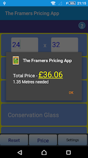 Picture Framers Pricing App - náhled
