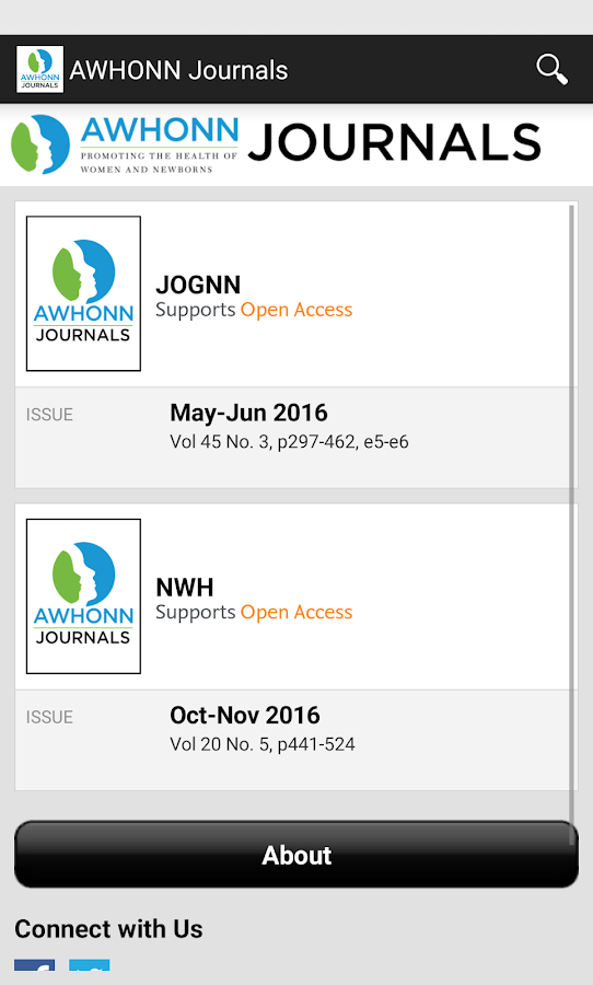 AWHONN Journals- screenshot