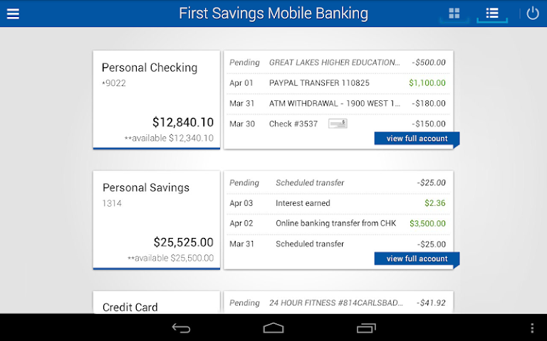 android First Savings Mobile Banking Screenshot 5