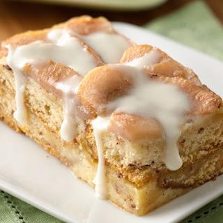 Cinnamon Roll-Pear Bread Pudding.