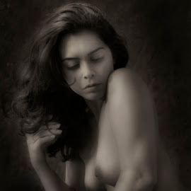 69B by Jim Oakes - Nudes & Boudoir Artistic Nude ( studio, model, black and white, female, pretty girl, beauty, one-light )