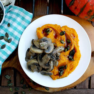 Creamy Pumpkin Puree with Mushrooms and Garlic Oil.