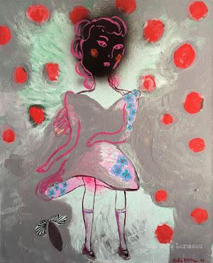 errance-lady-woman-pois-rouge-toupie-champignon-red--masque-mask-mushroom-wandering-child-sophielormeau-lormeau-artiste-peinture-french-artist-art-tableau-toile-painting-peinture-canvas-grey