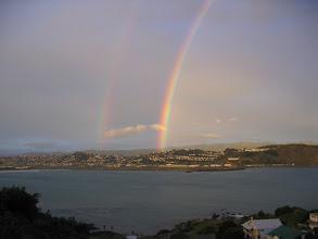 Photo: A double rainbow over Wellington Airport - 5:29pm, 23-Apr-05