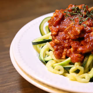 Zoodles with a Healthy Turkey Meat Sauce.