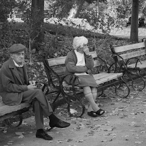 Loneliness in the elderly by Nikos Pilpilidis - Black & White Portraits & People ( park, loneliness, white, people, black )