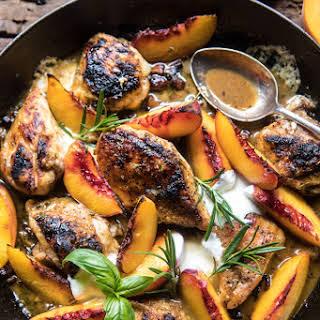 Rosemary Peach Chicken in White Wine Pan Sauce.