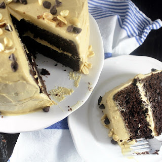 Triple Chocolate Cake with Peanut Butter Frosting.