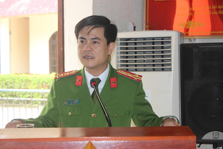 Đồng chí Đại tá Nguyễn Đức Hải, Phó Giám đốc Công an tỉnh phát biểu chỉ đạo Hội nghị