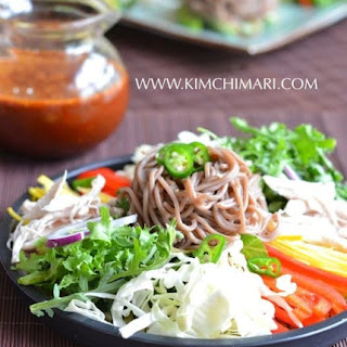 Cold Buckwheat Noodle Salad (막국수 Makguksu).