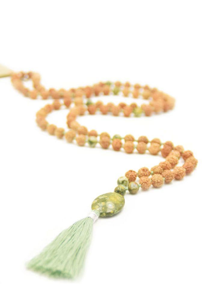 Jaspis grön, Rudraksha Mala