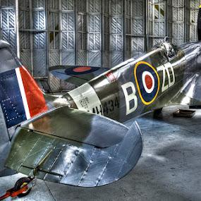 sleek spitfire by Ray Heath - Transportation Airplanes ( sleek spitfire, ww2 raf fighter, duxford iwm spitfire,  )