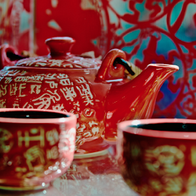 Chinese tea set by Francisco Little - Artistic Objects Cups, Plates & Utensils ( red, chinese, china, porcelain, teapot, teaset, calligraphy, cup,  )