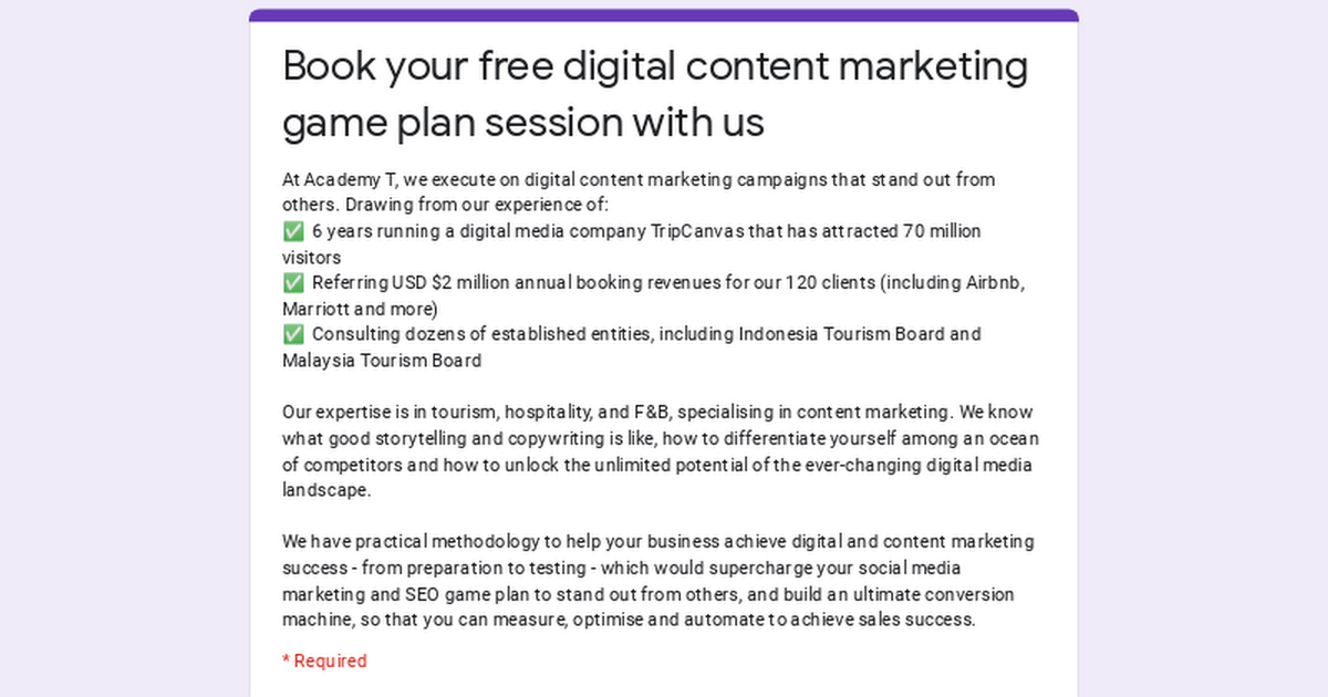 Book your free digital content marketing game plan session with us